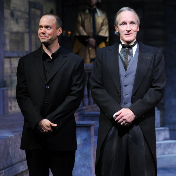 "Brent Vimtrup as Hamlet and Bruce Cromer as Claudius in CSC's 2014 production of Shakespeare's ""Hamlet"" January 10- February 8, 2014, directed by Brian Isaac Phillips.  Performances are located at CSC's Theatre , 719 Race Street in downtown Cincinnati.  Tickets are $22-35 and are available online at cincyshakes.com or by calling the box office 513.381.2273.  Photo by Rich Sofranko."