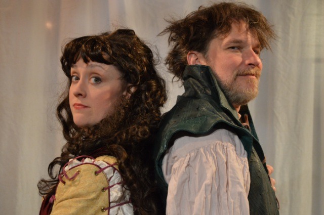 """Kelly Mengelkoch as Kate and Nicholas Rose as Petruchio in Cincinnati Shakespeare Company's 2015 production of William Shakespeare's """"The Taming of the Shrew"""", directed by Kevin Hammond, playing April 3-25, 2015.  Performances are located at CSC's Theatre, 719 Race Street in downtown Cincinnati. Tickets are $14-$35 and are available now online at cincyshakes.com or by calling the box office 513.381.2273. Photos by Cal Harris."""